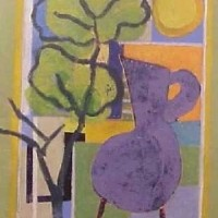 Foto van Compositie blauwe vaas in groen