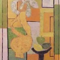 Foto van Compositie vaas in geel en groen