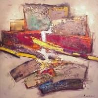 Foto van Compositie met rood en geel
