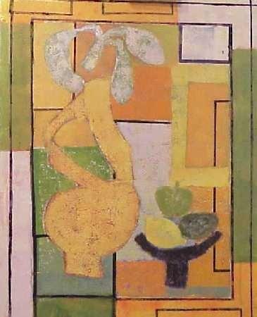 Compositie vaas in geel en groen