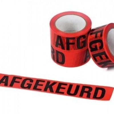 PVC tape wit 50mm x 66mtr. rode opdruk 'afgekeurd'
