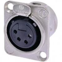 Foto van XLR Panel-mount female receptacle 4 N/A DL soldeer connectie Vernikkeld