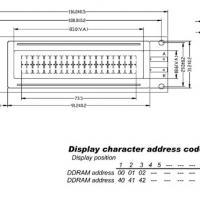 Foto van LCD 20 x 2 BOTTOM VIEW TRANSFLECTIEF MET GELE ACHTERGRONDVERLICHTING
