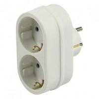Foto van Schuko adapter 1 plug 2 socket