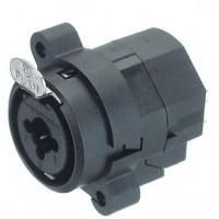 Foto van XLR Panel-mount female receptacle 3 N/A NCJ Verticaal / PCB Mounting Zwart