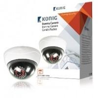 Foto van Dummy dome beveiligingscamera met oplichtende IR LEDs in het donker