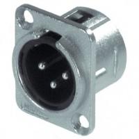 Foto van XLR Panel-mount male receptacle 3 N/A DL soldeer connectie Vernikkeld