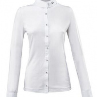 Eqode By Equiline Dames Showshirt Lange Mouw Blauw