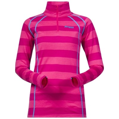 Foto van Bergans Fjellrapp Half Zip Hot Pink Striped