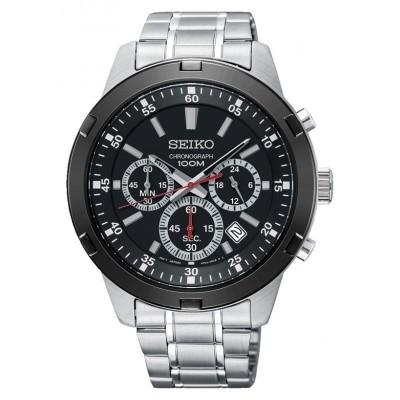 Foto van Seiko SKS611P1 horloge Chronograaf Zwart met rode accenten