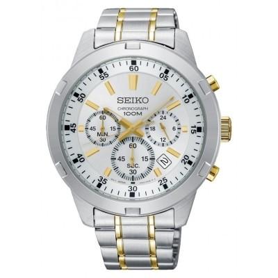 Seiko SKS607P1 horloge Chronograaf Wit met goudkleurige accenten