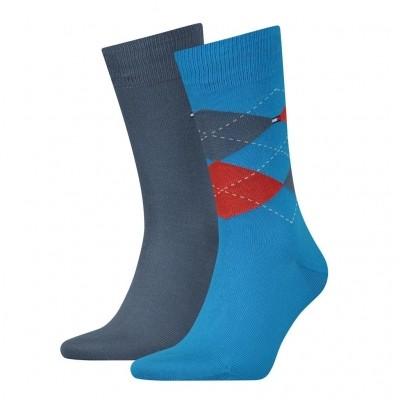 Foto van Tommy Hilfiger 2 pack heren sokken 391156 168 blue combo