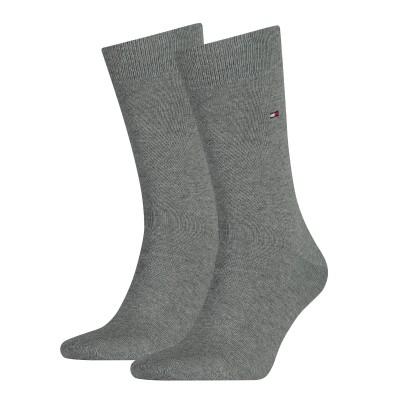 Foto van Tommy Hilfiger 2 pack heren sokken 371111 758 middle grey melange