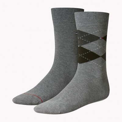 Foto van Tommy Hilfiger 2 pack heren sokken 391156 758 middle grey