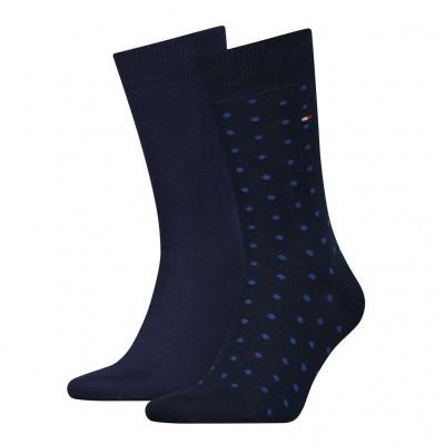 Tommy Hilfiger 2 pack heren sokken DOTTED 382012001 322 navy