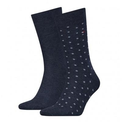 Foto van Tommy Hilfiger 2 pack heren sokken DOTTED 382012001 356 Jeans