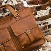 Image of Leather Laptop Bag Cognac Dylan
