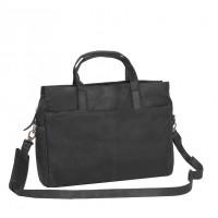 Leather Laptop Bag Black Damian Black
