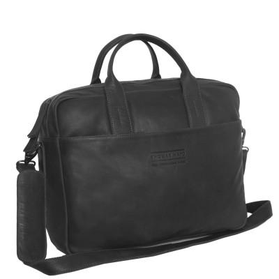 Photo of Leather Laptop Bag T7 Black Thomas Hayo