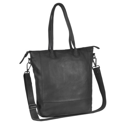 Leren Shopper Black Label Antraciet Lily