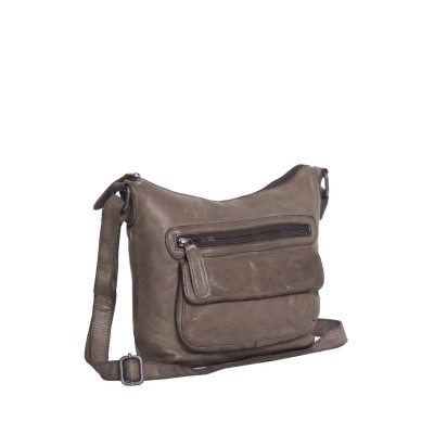 Leather Shoulder Bag Taupe Aliz
