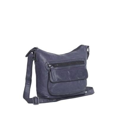 Leather Shoulder Bag navy Aliz