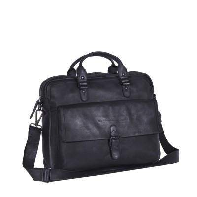 Leather Laptop Bag Antraciet Black Label Steve