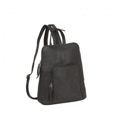 Leather Backpack Black Vivian