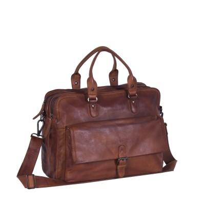 Leather Laptop Bag Cognac Black Label Johnny