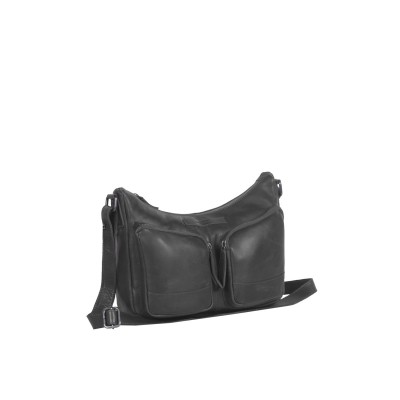 Leather Shoulder Bag Black Aubrey