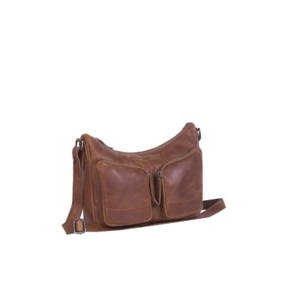 Leather Shoulder Bag Cognac Aubrey
