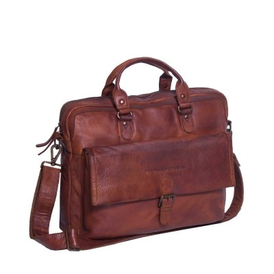 Leather Laptop Bag Cognac Black Label Steve