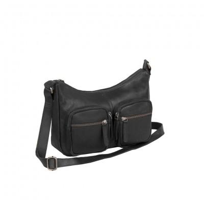 Leather Shoulder Bag Black Victoria