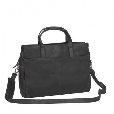 Leather Laptop Bag Black Damian