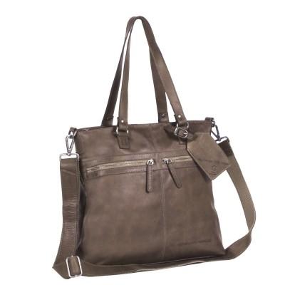 Leather Shopper Bag Taupe Cleo
