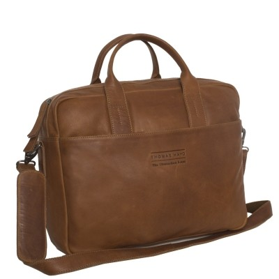 Photo of Leather Laptop Bag T7 Cognac Thomas Hayo