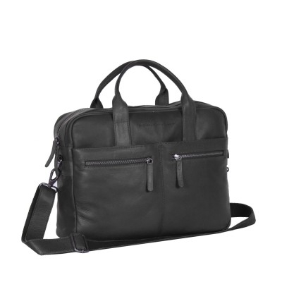 Leather Laptop Bag Black Jake