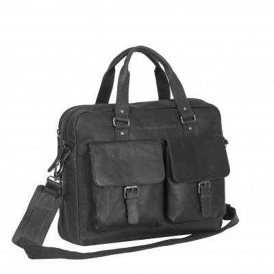 Leather Laptop Bag Black Dylan