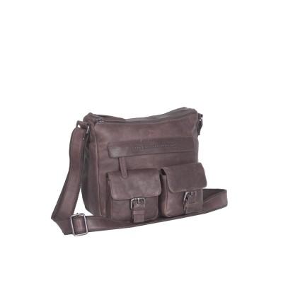 Leather Shoulder Bag Taupe Monica