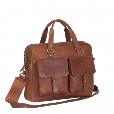 Leather Laptop Bag Cognac Dylan