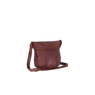 Leather Shoulder Bag Black Label Cognac Cindy