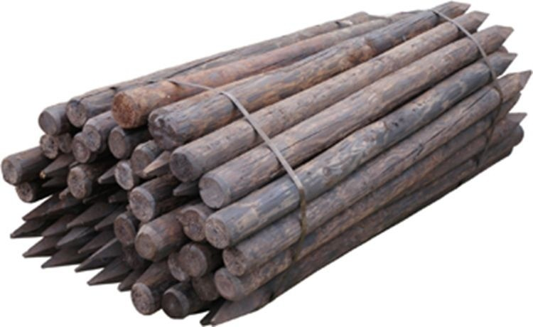 Houten paal Gecreosoteerd 200x11/12cm geschild