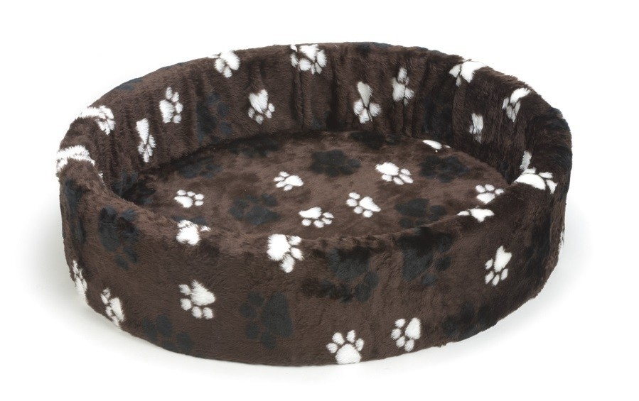 Beeztees hondenmand / teddymand voetprint bruin 80cm
