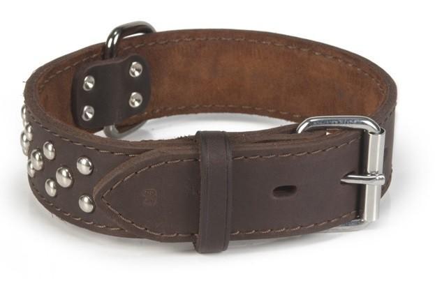 Leren halsband hond Beeztees Noppy bruin 60X40