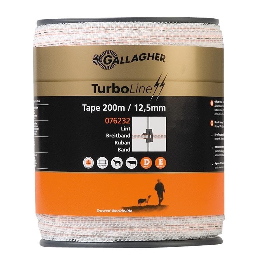 Schriklint Gallagher Turboline 12.5mm wit 200mtr