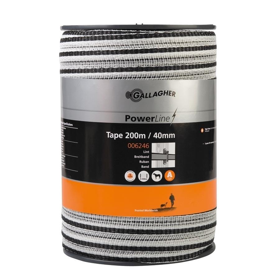 Schriklint Gallagher PowerLine 40mm wit 200mtr