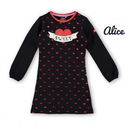 Foto van O chill Alice dress dark navy dress allover foil lippen