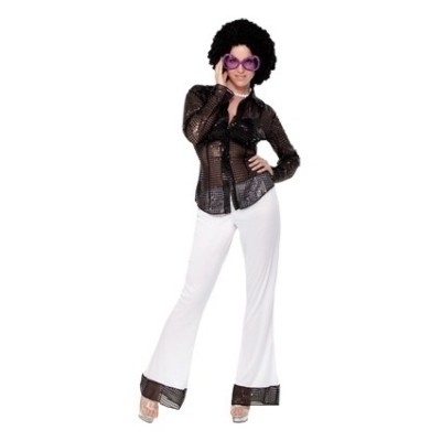 Foto van Disco meisje sequins volwassen maat
