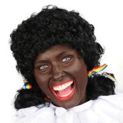 Foto van Zwarte Piet pruik Pieternel met staartje