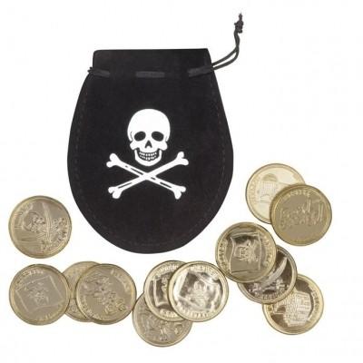 Foto van Set Piratenzakje met 12 gouden munten